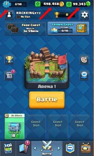 cara cheat clash royale root