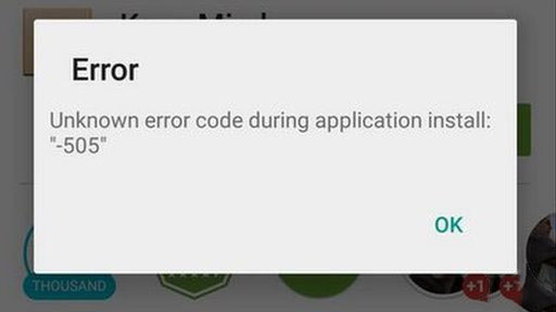 playstore error code 505