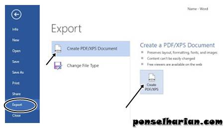 Convert Word to PDF di MS Word
